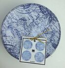 NWT 222 FIFTH DUE NORTH BLUE WHITE DESSERT OR APPETIZER PLATES SET OF 4