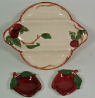 Vtg. Franciscan China APPLE 3 Part Relish Dish & 2 Spoon Rests- USA Mark- Minty