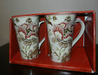 222 FIFTH GABRIELLE CREAM TALL LATTE MUGS/CUPS NEW -  SET OF 2 - FINE CHINA