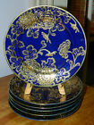 ANTIQUE NIPPON COBALT HEAVY GOLD CHRYSANTHEMUM 12PC PLATE & BOWL SET