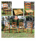 1930's Vintage Set Of 4 Maple Ladderback Chairs With Rush Seat **Excellent**