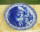 Antique  Delfts Blue Boch Belgium Porcelain Plate Dutch Fisherman Landscape