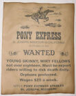 Pony Express Riders Wanted Poster, old west, western