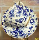 Golden Crown Blue Chintz Teacup Tea Cup and Saucer - Bone China, Made in England