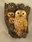 Vintage Chalkware Wall Art Decor Mother Owl & Babies In Tree - Unique!!