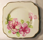 Square Floral Plate with Gold Trim, Hand-Painted, Made in Occupied Japan