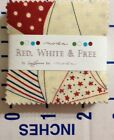 MINI CHARM PACK~RED WHITE & FREE~MODA FABRIC~42-2.5