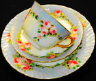 ROYAL DOULTON PINK ROSES  BLUE TEA CUP AND SAUCER TRIO