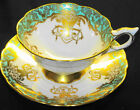 ROYAL STAFFORD FANCY HANGING GOLDEN ROSES TEA CUP AND SAUCER ICY TURQUOISE