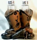 New Country Kitchen Cowgirl Gun COWBOY BOOTS Seasons SALT PEPPER Shakers w BOX