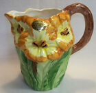 Bassano Ceramics Hand Painted Pitcher Flower Design Made In Italy
