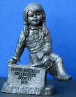 M Ricker Pewter Young Girl Sitting on Sign Heavy 3