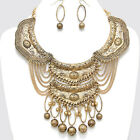 Gold Ornate Tribal Warrior Princess Armor Chain Necklace Metal Bead Earrings Set