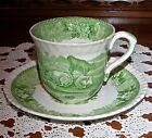 ANTIQUE ADAMS IRONSTONE Cattle Scenery Pasture Floral Green CUP SAUCER 1880 RARE