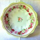 LOVELY ANTIQUE HERMANN OHME SILESIA BEADED HANDPAINTED PINK GREEN BOWL, c1900