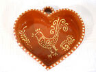 VINTAGE HANDMADE BROWN GLAZED HEART W/ ROOSTER,  UNUSUAL FOLK ART, Jello Mold !