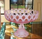Rare Vintage / Antique Crystal Frosted Pink Footed Center Piece / Fruit Dish