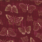 ENCHANTED POND~39 IN~EOB~MODA~6505-14~BUTTERFLIES ON MAGENTA RED~HOLLY TAYLOR