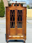 Turn of the Century Solid Mahogany Cabinet Makers  Broken Arch Corner Cabinet