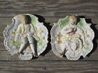 Hand Painted WALL ART 3 DIMENSIONAL PLAQUE SET of 2 VICTORIAN MAN WOMAN JAPAN