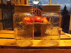 VTG CROWN QUART MASON FRUIT JARS WITH EMBOSSED GLASS LINER & ZINC SCREW LIDS X2