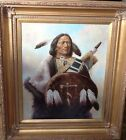 Troy Denton original oil framed Native American brave with shield