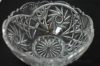 Vintage Cut Crystal Pinwheel Hobstar Crystal Pedestal Fruit Bowl / Compote 4