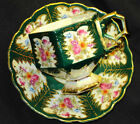ANTIQUE JAPAN PINK ROSES GREEN Hexagon GOLD FOOTED TEA CUP AND SAUCER