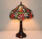 12W Rose Flowers Stained Glass Handcrafted Table Desk Lamp Zinc Base