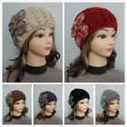 Womens Girls Winter Warm Knit Beanie Hat With Crochet Flower Double Layer