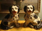 Victorian Spaniels Pair Staffordshire Dogs Statues 1850-1880 Antique Mantel