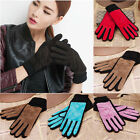 New Lady Women Genuine Pigskin Leather Winter Soft Elegant Stylish Lined Gloves