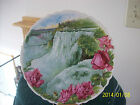 Porcelain Plate Antique Transfer US Pottery Company Wellsville Signed Water Fall