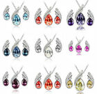 new Sterling Silver Plated Crystal pendant necklace and earrings set