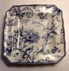 222 Fifth Adelaide Blue Square Side Plates Set Of 4 Birds Flowers NIB