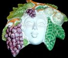 VINTAGE ITALIAN HAND MADE MAIOLICHE GODDESS GRAPE HARVEST MASK
