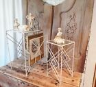 2 Amazing Antique Vtg Glass Wrought Iron Side End Patio Table Magazine Rack WOW!