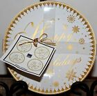 222 Fifth HAPPY HOLIDAYS Gold Appetizer Dessert Plates-Set of 4 FINE CHINA ROUND