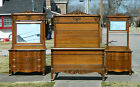 3 Piece Solid and Tiger Oak Bedroom set~~~Bed~Dresser~Washstand circa 1900