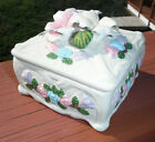 Ceramic bisque  Trinket Jewel Box with pink white blue Roses & Green Leaves