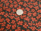 RED FLORAL AND TINY WHITE DOTS ON BLACK CIRCA 1870 REPRODUCTION PRINT 1 2/3 YDS