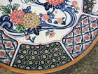 Vtg Japanese Imari Pottery Platter Plate Hand Painted Blue White Floral Japan