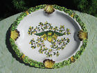 Beautiful Vintage MEISELMAN Pottery ITALY Green/Yellow Ashtray Oval Dish  # 908