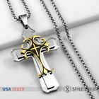 Men's Stainless Steel Gold Tone Large Cross Pendant with Smooth Box Necklace 11I