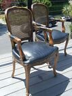 Pair Vintage Bergere Louis French Regency Cane Leather Armchairs Dining Chairs