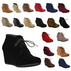 NEW Womens Wedge Booties Oxford High Heels Ankle Boots Shoes Platform Black size