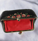 OLD  black  Hand Sewn embroidered purse clutch red flowers  ART Vintage