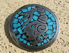 Mexican Sterling Silver AZTEC Stone Inlay PENDANT PIN BROOCH Mexico Taxco 21g