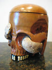 Antique Meiji Period Figural Carved Tobbaco Jar /Box/Humidor Skull Form W/Snake