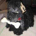 1950's Vintage Japan Battery Operated Tin Furry Toy Black Poodle Works Eye Light